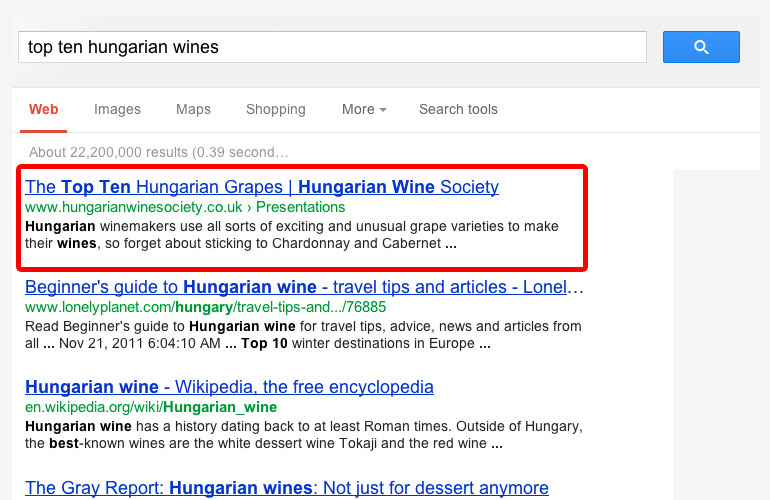 good example of SEO from a wine website